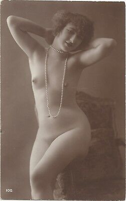 Original old French real photo postcard Art Deco nude study 1920s RPPC pc #218