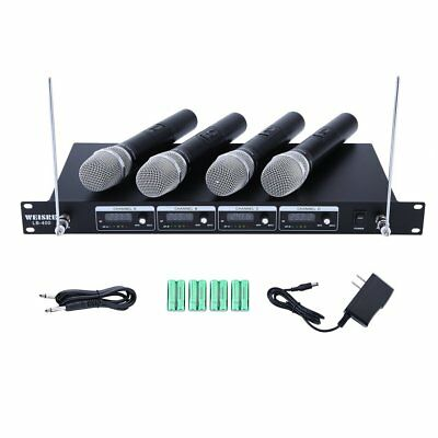 Black Pro Audio 4 Channel VHF Handheld Wireless Microphone System w/ 4 Mics BP
