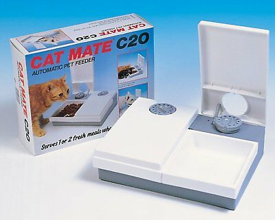 Cat Mate C20 Automatic Pet Feeder Large Bowls Removable Dishwasher Proof Lids