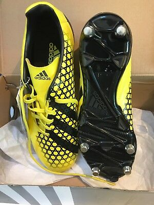 adidas UK size 6.5 incurza yellow soft ground new rugby boots with box