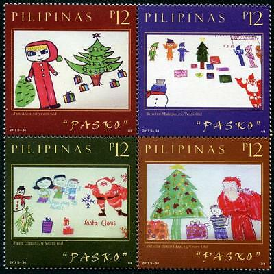 Christmas 2017 Children's Art mnh block of 4 stamps Philippines Santa Claus Tree
