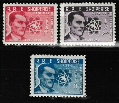 World Peace Movement 10th anniversary 3 mnh stamps 1959 Albania 541-3 Curie Dove