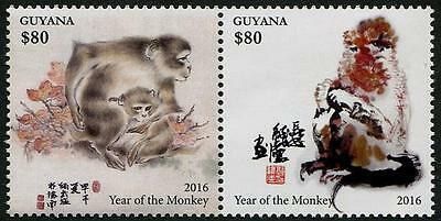 Year of the Monkey se-tenant pair of mnh stamps 2016 Guyana