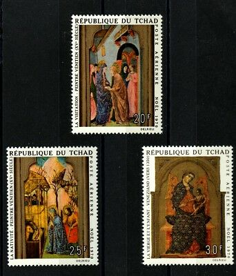 Christmas paintings set of 3 stamps mnh 1970 Chad #C71-3