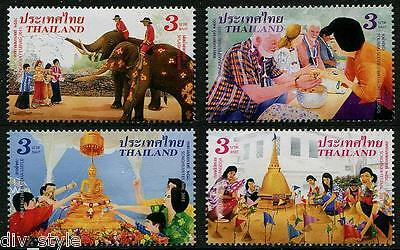Songkran Day set of 4 stamps mnh 2015 New Year's Festival Thailand elephant