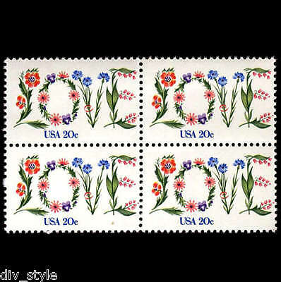 Love stamps mnh block of 4 USA 1983 #1951 Flowers