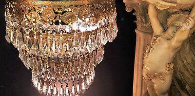 Fine Antique Nyc Art Deco Gold Gilt 3 Tier Wedding Cake Crystal Chandelier 1920