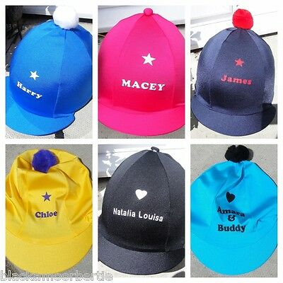 RIDING HAT SKULL CAP COVER * PERSONALISED * With or W/O pompom CHOOSE COLOUR