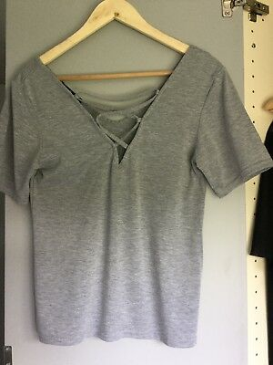 Missguided Grey Lace Up Tie Front Tshirt Size 8