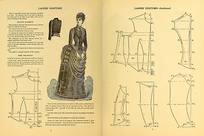 Vtg VICTORIAN DRESS COSTUME PATTERN BASQUE WOMENS GARMENT CUTTING BOOK  * on CD