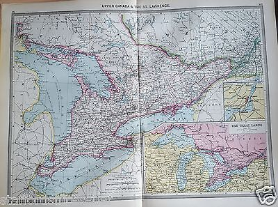 Antique Large Map c1906 Upper Canada & St Lawrence insets Great Lakes & Montreal