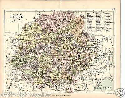 Antique Map 1891 County of Perth Parishes Railways Roads by Bartholomew