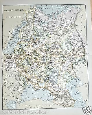 Antique Victorian Print c1880 Map of Russia in Europe