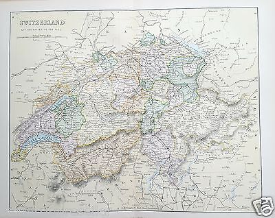Antique Victorian Print c1880 Map of Switzerland and the Passes of the Alps