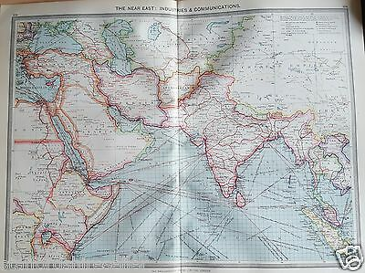 Antique Large Map c1906 The Near East Industries & Communications India Persia