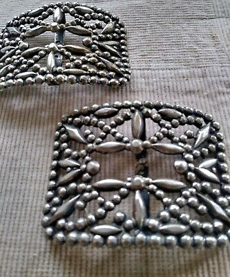 Pair of Vintage Victorian Antique French Cut Steel Shoe Buckles