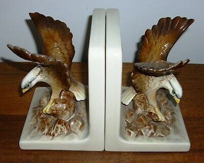 Par Of Otagiri Hawk On A Rocky Ledge Book Ends Hand Crafted Japan Excellent Cond