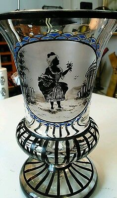 ANTIQUE CZECH BOHEMIAN SCHWARZLOT POKAL HAIDA VASE WITH SCENE OF LADY w FLOWERS
