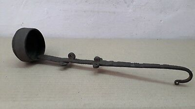 1800's Antique Hand Forged Iron Oil Measurement Spoon Extremely Rare Design