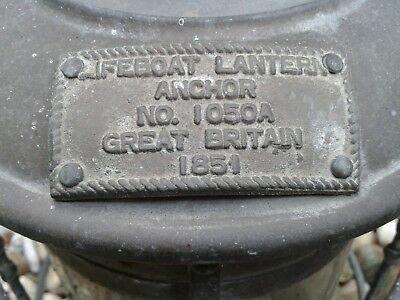 Antike Boots Laterne Von 1851 Life Boat Lantern Great Britain ANCHOR NO.1050A