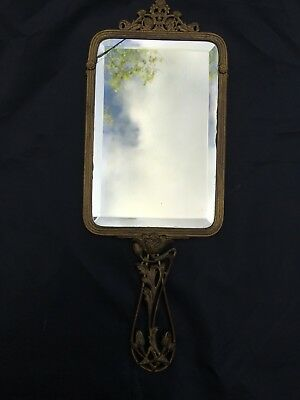 Antique french hand mirror face glass chased brass held flower rose art deco