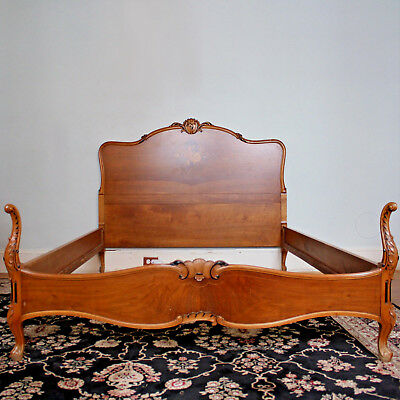 Louis XV Style Full Sized Bed Headboard Foot-Board Rails Floral Inlay Rosewood