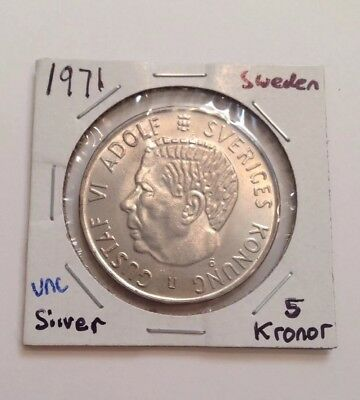 1971 Sweden 5 Kronor Silver Coin Uncirculated