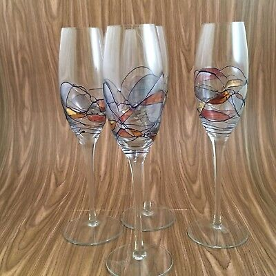 Milano Ramania Stained Gl Champagne Flutes Crystal Set Of 4