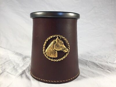 Vintage Stitched Leather And Pewter Mug Equine Equestrian Horse Medallion Cup
