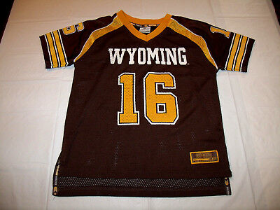 081bd1368cc University of Wyoming Cowboys Youth Medium 5 Mesh #16 Football Jersey  Colosseum