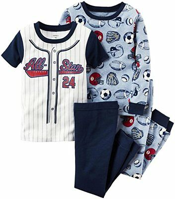 Carters All Star Pajamas Baseball Sports Football Boys PJs 9 Month 4 PC NWT