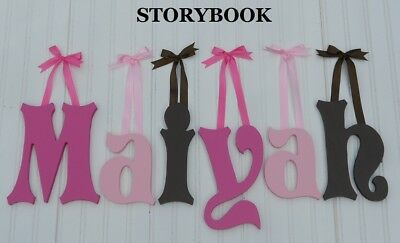 """Painted Wooden Wall Letters 8"""" size Home Decor Kids Room Baby Nursery Storybook"""