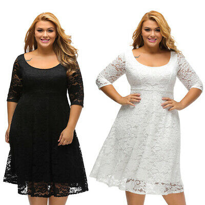 Plus Size Women Fashion White Floral Lace Sleeved Fit and Flare Curvy Dress