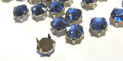 """100 Embellishment Rhinestones Pieces, Prong Set N Back Faceted Royal Blue, 5/16"""""""
