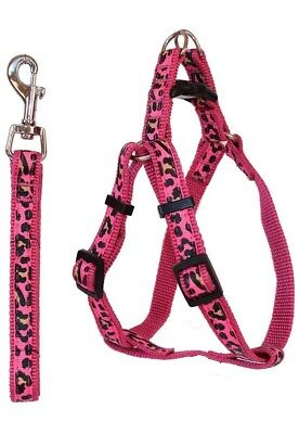 Dog Leash and Harness Pink Adjustable & Durable Set for Small to Medium Pets