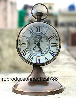 Antique Brass Working Clock Nautical Beautiful Design Clock Desktop Decorative