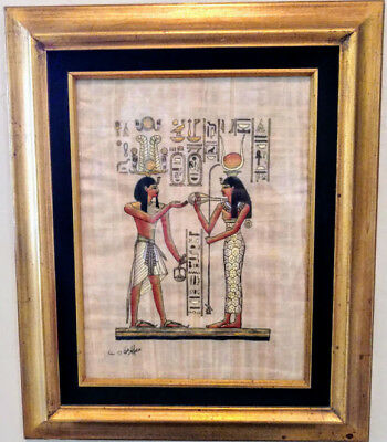 "Antique Older Early 1900's Real 12"" by 10.5"" Egyptian Papyrus Gold & Various...."