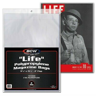 Life Magazine Poly Bags Pack of 100 Safe Storage 2 Mil High Quality Holders BCW