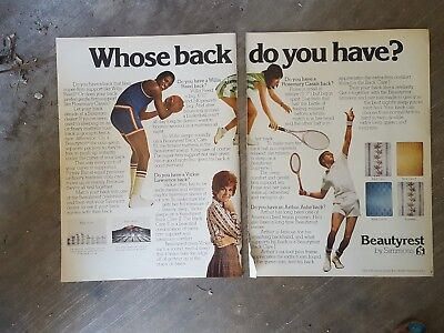 1974 print ad-Beautyrest-Willis Reed-Vicki Lawrence-Rosemary Cassals-Arthur Ashe