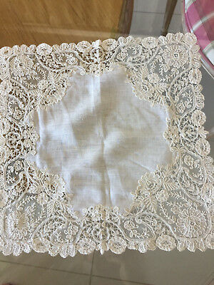 Antique Vintage Wedding Bridal Brussels Mixed Bobbin And Needle Lace Hankie