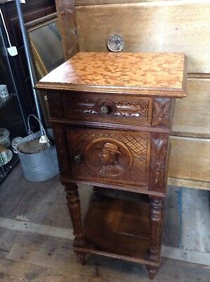 2 vintage French Marble Top Bedside Cabinets