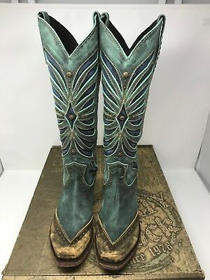 Women's Cowboy Boots Liberty Black Tall Vintage Turquoise Size 7m Square Toe