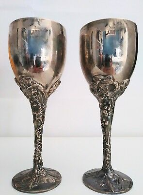"""Pair Elegant Godinger Silverplate Goblet Cup Chalice Wine Glass 7 1/2"""" Tall"""