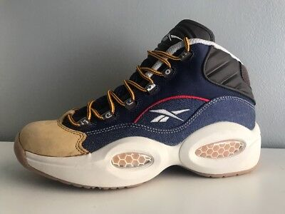 678a0e4f1f1402 Reebok Mens Question Mid Dress Code Blue White Yellow AR0252 SIZE  7 Men s