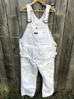 Vtg Big Mac White Overalls Painter Workwear USA Pouch Reinforced Legs COOL