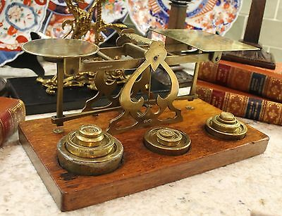 Antique English Brass & Oak Postal Scale 11 Weights Mordan & Co. London 19th C.