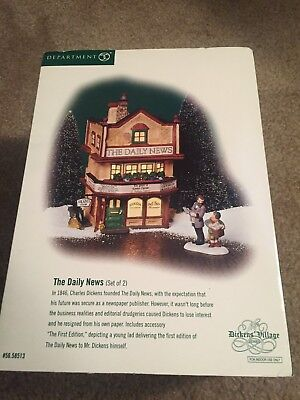 Dept56 Dickens Village The Daily News ceramic building with figurine
