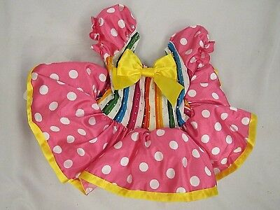 Girls Pink Polka Dot Leotard Tutu Ballet Dancer Size Extra Small XS Child (R008)