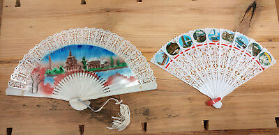 Two vintage advertising hand fans antique air conditioning
