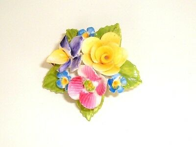 Vtg Jon Anton Bone China Pin Brooch Pastel Flowers Floral Pansy Made in England